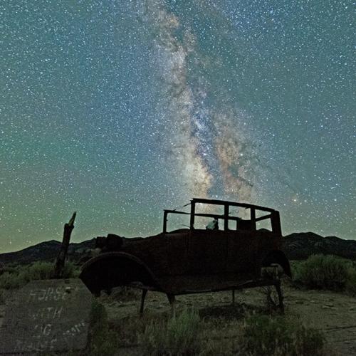 Old Threshing Machine and Milky Way