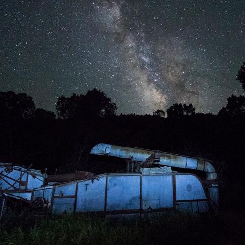 Old Threshing Machine and Milky Way 72p