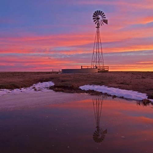 Reflected Windmill with Sunrise Pawnee
