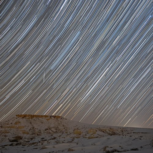 Star Trails and Meteors over Freemont Butte