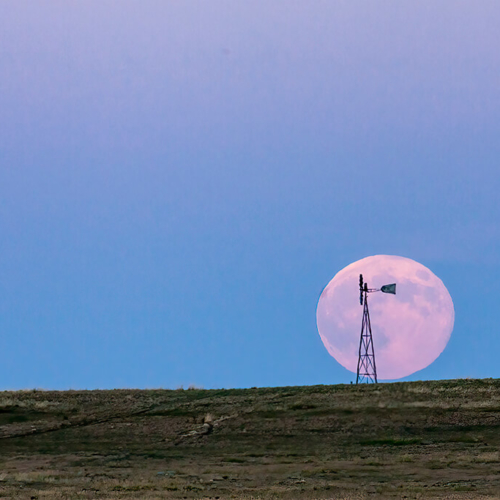 Windmill and Rising Supermoon